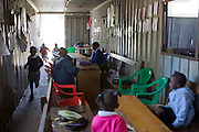 Children coming back to the classroom (a modified shipping container) after break time. The MADICAA school (makadara division campaign against aids) in Makadara, Kenya, a Pre-primary/nursery school, that started in 2006.