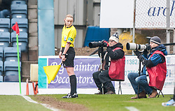 Assistant referee Kylie McMullan checks out Mr Williamson's shoes.<br /> Dundee 0 v 1 Falkirk, Scottish Championship game played today at Dundee's Dens Park.<br /> © Michael Schofield.