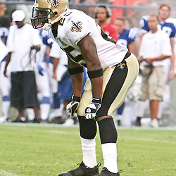 26 August 2006: New Orleans Saints rookie running back Reggie Bush on the field during a NFL preseason game between the Indianapolis Colts against the New Orleans Saints at Veterans Memorial Stadium in Jackson, Mississippi.