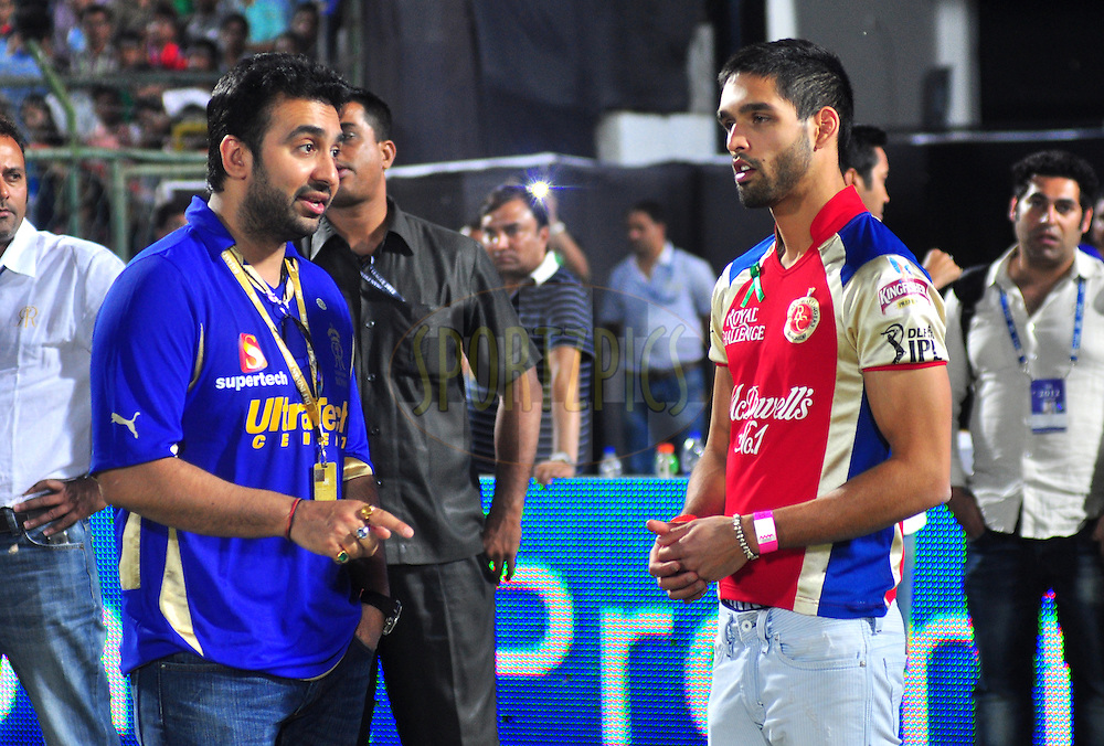 Rajasthan Royals owner Raj Kundra with Siddharth Mallya after  match 30 of the the Indian Premier League ( IPL) 2012  between The Rajasthan Royals and the Royal Challengers Bangalore held at the Sawai Mansingh Stadium in Jaipur on the 23rd April 2012..Photo by Arjun Panwar/IPL/SPORTZPICS