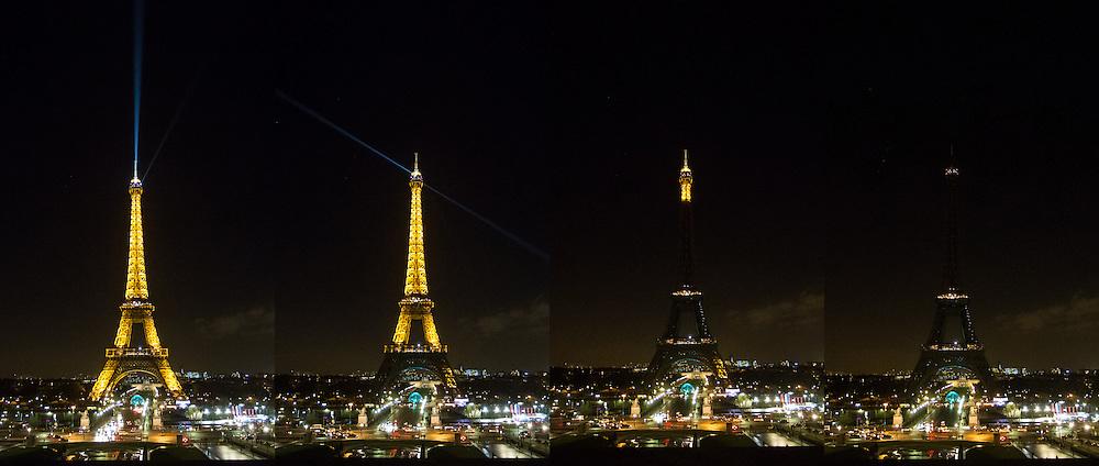 Trocadero, 8 janvier 2015, en signe d'hommage apr&egrave;s l'attentat contre Charlie Hebdo, les lumi&egrave;res de la Tour Eiffel se sont &eacute;teintes.<br /> L&rsquo;attentat contre Charlie Hebdo est une attaque terroriste islamiste perp&eacute;tr&eacute;e contre le journal satirique Charlie Hebdo par Ch&eacute;rif et Sa&iuml;d Kouachi le 7 janvier 2015 &agrave; Paris, jour de la sortie du num&eacute;ro 1 177 de l&rsquo;hebdomadaire. C&rsquo;est le premier des attentats de janvier 2015 en France.