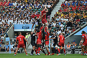 Saracens lock George Kruis (5) wins a line out during the Gallagher Premiership Rugby Final match between Exeter Chiefs and Saracens at Twickenham, Richmond, United Kingdom on 1 June 2019.