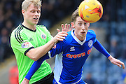 Jay McEveley, Joe Bunney during the Sky Bet League 1 match between Rochdale and Sheffield Utd at Spotland, Rochdale, England on 27 February 2016. Photo by Daniel Youngs.