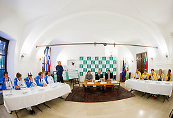 Players during draw of Davis cup Slovenia vs South Africa competition on September 12, 2013 in City hall, Ljubljana, Slovenia. (Photo by Vid Ponikvar / Sportida.com)
