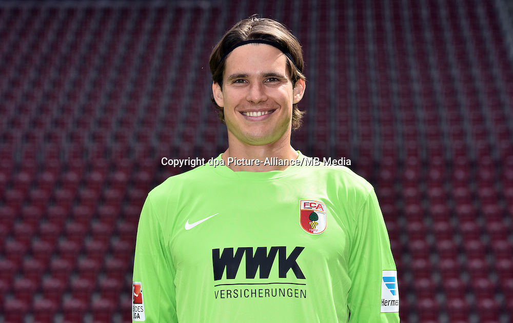 German Soccer Bundesliga 2015/16 - Photocall of FC Augsburg on 08 July 2015 in Augsburg, Germany: Goalkeeper Marwin Hitz