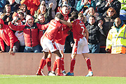 GOAL - Joe Lolley is congratulated by his team mates during the EFL Sky Bet Championship match between Nottingham Forest and Luton Town at the City Ground, Nottingham, England on 19 January 2020.