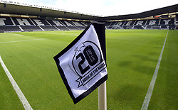 """General view of the stadium before a pre season friendly match at Pride Park, Derby. PRESS ASSOCIATION Photo. Picture date: Saturday July 21, 2018. Photo credit should read: Anthony Devlin/PA Wire. EDITORIAL USE ONLY No use with unauthorised audio, video, data, fixture lists, club/league logos or """"live"""" services. Online in-match use limited to 75 images, no video emulation. No use in betting, games or single club/league/player publications."""