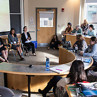 LEAP Symposium, Mount Holyoke College, 10/18/2013. Panel: Transitions: Engineering the Liberal Arts. L-R: Carley Przvstac, Ednah Louie, Lucia Garcia, Indira Rakhimzvanova.