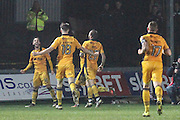 Josh Sheehan of Newport County scores his teams third goal, 3-1, during the The FA Cup match between Newport County and Alfreton Town at Rodney Parade, Newport, Wales on 15 November 2016. Photo by Andrew Lewis.