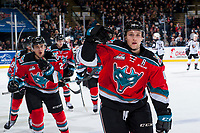 KELOWNA, CANADA - NOVEMBER 10: Gordie Ballhorn #4 of the Kelowna Rockets celebrates a first period goal against the Vancouver Giants on November 10, 2017 at Prospera Place in Kelowna, British Columbia, Canada.  (Photo by Marissa Baecker/Shoot the Breeze)  *** Local Caption ***