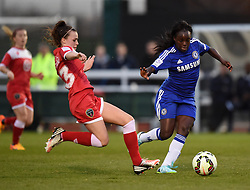 Bristol Academy's Georgia Evans tackles Eniola Aluko of Chelsea Ladies - Photo mandatory by-line: Paul Knight/JMP - Mobile: 07966 386802 - 02/04/2015 - SPORT - Football - Bristol - Stoke Gifford Stadium - Bristol Academy Women v Chelsea Ladies - FA Women's Super League