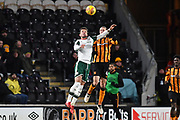 Barnsley Fc defender Daniel Pinillos (23) and Hull City midfielder Jackson Irvine (4) during the EFL Sky Bet Championship match between Hull City and Barnsley at the KCOM Stadium, Kingston upon Hull, England on 27 February 2018. Picture by Ian Lyall.