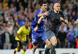 Michael Ballack of Chelsea screams at referee Tom Henning Ovrebo after a rejected penalty claim during the UEFA Champions League Semi Final Second Leg match between Chelsea and Barcelona at Stamford Bridge on May 6, 2009 in London, England.