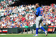 May 1 2011; Phoenix, AZ, USA; Chicago Cubs batter Alfonso Soriano (12) reacts on the field after striking out during the eighth inning against the Arizona Diamondbacks at Chase Field. The Diamondbacks defeated the Cubs 4-3. Mandatory Credit: Jennifer Stewart-US PRESSWIRE..