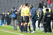 QPR Manager Jimmy Floyd Hasselbaink confronts the match officials following the Sky Bet Championship match between Milton Keynes Dons and Queens Park Rangers at stadium:mk, Milton Keynes, England on 5 March 2016. Photo by Dennis Goodwin.