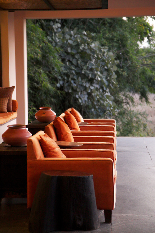 Taj Hotel's Mahua Kothi View from Dining Hall in Bandhavgarh Tiger Reserve, India
