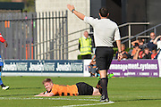 Foul against Michael Gash of Barnet during the Sky Bet League 2 match between Barnet and Dagenham and Redbridge at Hive Stadium, London, England on 26 September 2015. Photo by Ian Lyall.