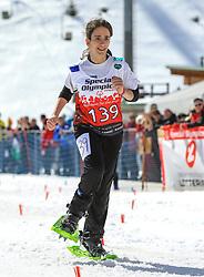 17.03.2017, Ramsau am Dachstein, AUT, Special Olympics 2017, Wintergames, Schneeschuhlauf, Divisioning 100 m, im Bild Zacharoula Zannia (GRE) // during the Snowshoeing Divisioning 100 m at the Special Olympics World Winter Games Austria 2017 in Ramsau am Dachstein, Austria on 2017/03/17. EXPA Pictures © 2017, PhotoCredit: EXPA / Martin Huber