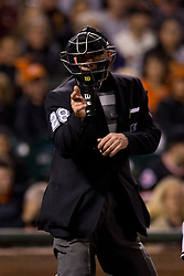 SAN FRANCISCO, CA - SEPTEMBER 09:  MLB umpire Jim Wolf #28 calls a strike during the fourth inning between the San Francisco Giants and the Arizona Diamondbacks at AT&T Park on September 9, 2014 in San Francisco, California.  The San Francisco Giants defeated the Arizona Diamondbacks 5-1.  (Photo by Jason O. Watson/Getty Images) *** Local Caption *** Jim Wolf