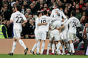 Real Madrid's players celebrate during La Liga match, November 05, 2009.
