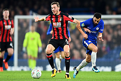 December 20, 2017 - London, Greater London, United Kingdom - Bournemouth's Dan Gosling holds off Chelsea Forward Pedro during the Carabao Cup Quarter - Final match between Chelsea and AFC Bournemouth at Stamford Bridge, London, England on 20 Dec 2017. (Credit Image: © Kieran Galvin/NurPhoto via ZUMA Press)