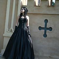Young woman wearing regency dress
