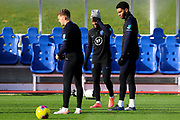England forward Raheem Sterling and defender Joe Gomez train together during the England football team training session at St George's Park National Football Centre, Burton-Upon-Trent, United Kingdom on 13 November 2019.