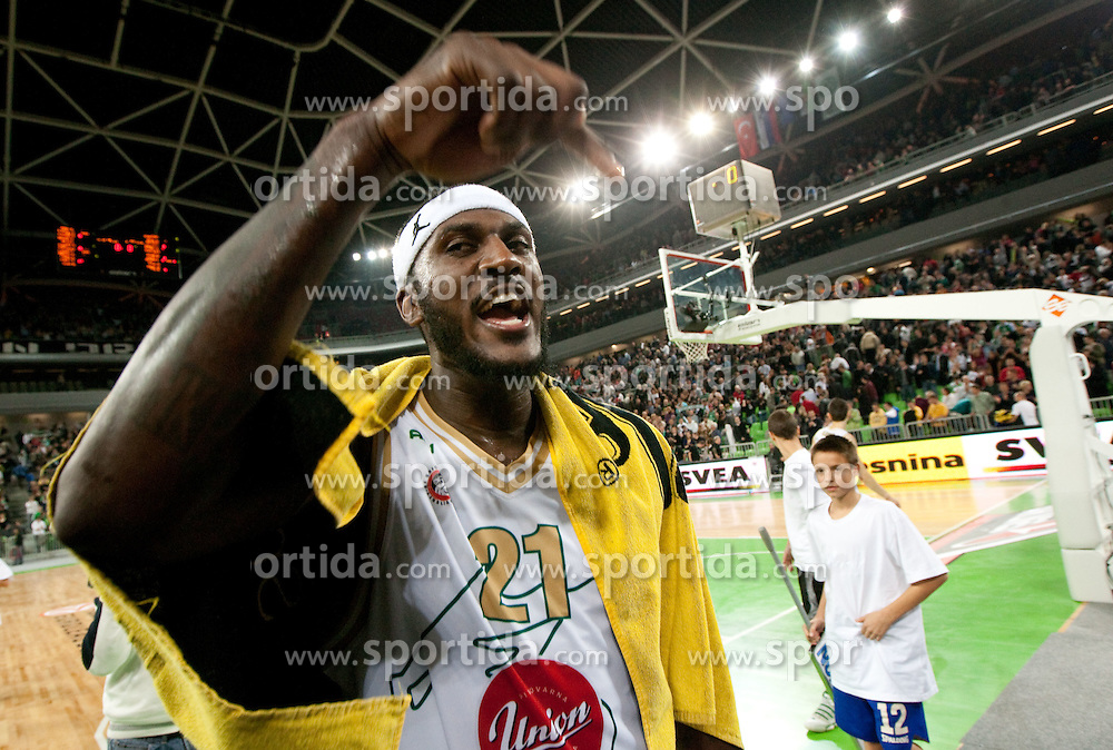 Kevinn Pinkney of Olimpija celebrate after winning the basketball match between KK Union Olimpija (SLO) and Efes Pilsen (Tur) in Group D of Turkish Airlines Euroleague, on October 20, 2010 in SRC Stozice, Ljubljana, Slovenia. Union Olimpija defeated Efes Pilsen after 2 overtimes 95 - 90.(Photo By Vid Ponikvar / Sportida.com)