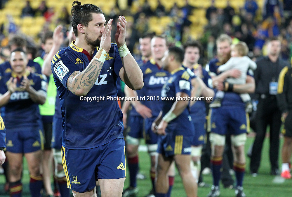 Highlanders' Elliot Dixon heads on stage to receive man of the match award during the Super Rugby Final, Hurricanes v Highlanders. Westpac Stadium, Wellington, New Zealand. 4 July 2015. Copyright Photo.: Grant Down / www.photosport.nz