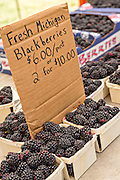 Fresh Michigan blackberries on sale at a farmers market July 31, 2015 in Lake Bluff, Illinois, USA