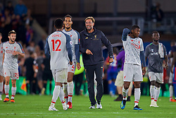LONDON, ENGLAND - Monday, August 20, 2018: Liverpool's manager Jürgen Klopp celebrates with Joe Gomez (L) after the FA Premier League match between Crystal Palace and Liverpool FC at Selhurst Park. Liverpool won 2-0. (Pic by David Rawcliffe/Propaganda)