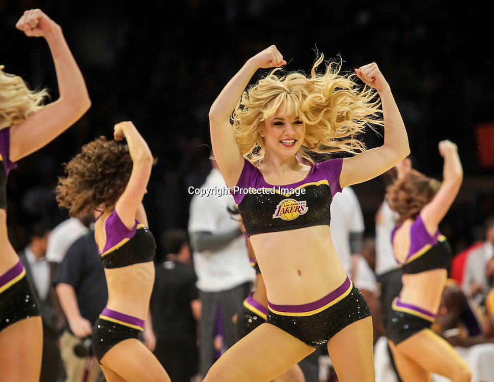 Lakers Girls perform during a timeout in the second half of an NBA basketball game between Los Angeles Lakers and Orlando Magic Tuesday, March 8, 2016, in Los Angeles.  Lakers won 107-98. (AP Photo/Ringo H.W. Chiu)