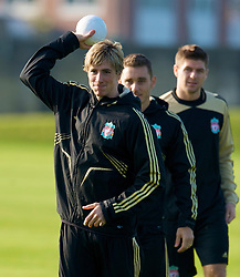 LIVERPOOL, ENGLAND - Monday, November 3, 2008: Liverpool's Fernando Torres during training at Melwood ahead of the UEFA Champions League Group D match against Club Atletico de Madrid. (Photo by David Rawcliffe/Propaganda)