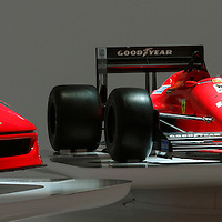 Ferrari F40 (nose on left) and Ferrari F-1 87 at Museo Casa Enzo Ferrari, 2014