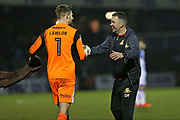 Doncaster Rovers Ian Lawlor(1) shakes Doncaster Rovers Manager  Darren Ferguson hand after their 1-0 win during the EFL Sky Bet League 1 match between Bristol Rovers and Doncaster Rovers at the Memorial Stadium, Bristol, England on 23 December 2017. Photo by Gary Learmonth.