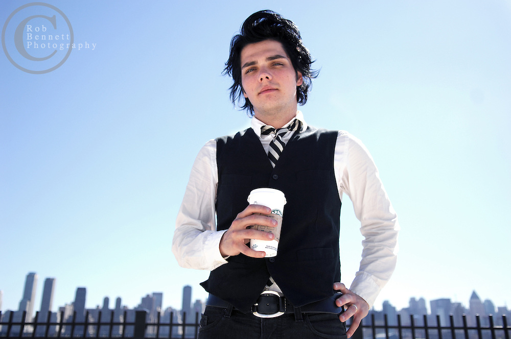 """West New York, NJ - Monday, Sept. 24, 2007  - Gerard Way, lead singer of the band My Chemical Romance, poses for a portrait near his home in West New York, NJ midday Monday. Way has written a comic book for Dark Horse called """"The Umbrella Academy.""""  Way was a cartooning/illustrating major at the School of Visual Arts prior to becoming a bona fide rock star. He created the cover art for his band's sophomore album """"Three Cheers for Sweet Revenge.""""..Rob Bennett for the New York Times"""
