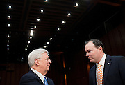"Feb 2, 2011 - Washington, District of Columbia, U.S. - Senator MIKE LEE (R-UT) speaks with WALTER DELLINGER, professor emeritus of law at the Duke University School of Law before the start of a Senate Judiciary Committee  hearing on ""The Constitutionality of the Affordable Care Act."".(Credit Image: © Pete Marovich/ZUMA Press)"