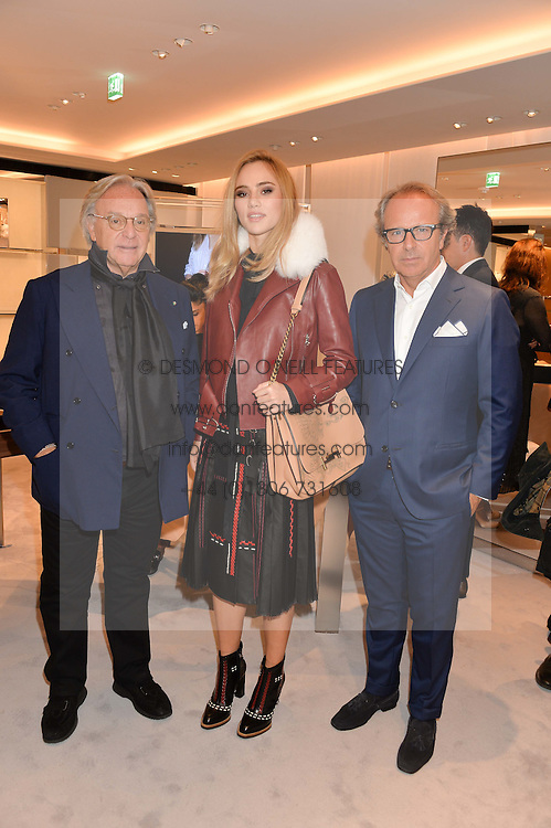 Left to right, DIEGO DELLA VALLE, SUKI WATERHOUSE and ANDREA DELLA VALLE at a dinner hosted by Tod's to celebrate the refurbishment of their store 2-5 Old Bond Street, London on 15th September 2016.