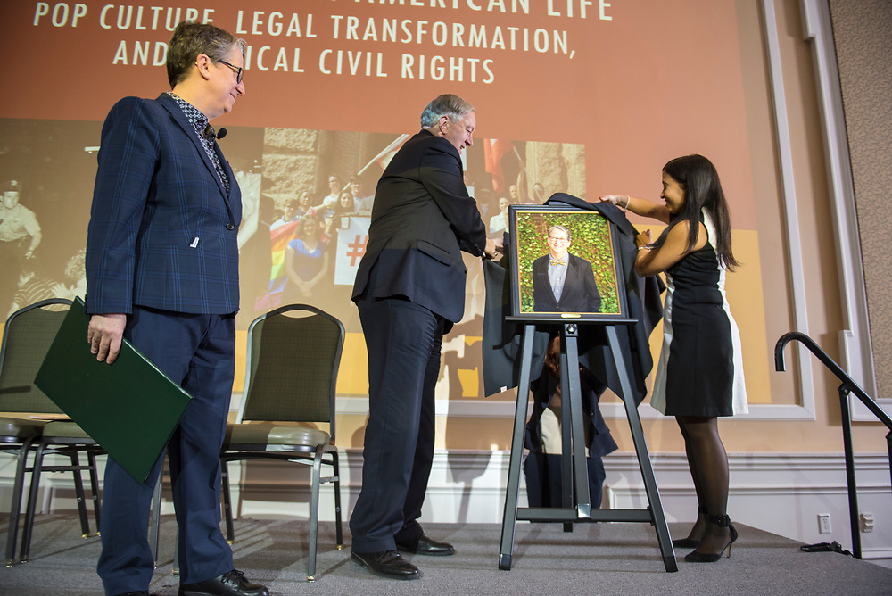Political Science Professor Susan Burgess is presented with the Distinguished Professor Award, the highest award a professor can recieve, and her portrait is unveiled on Feb. 25, 2019 in Baker Ballroom. Photo by Hannah Ruhoff