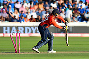 Wicket - Jason Roy of England is bowled by Umesh Yadav of India during the International T20 match between England and India at the SWALEC Stadium, Cardiff, United Kingdom on 6 July 2018. Picture by Graham Hunt.