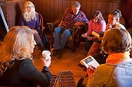 Mohonk Murder Mystery Weekend team meeting of Sam's Piano Players, with actress Alley Mulrain in lower left, in Lake Lounge of Mohonk Mountain House, on March 10, 2012, in New Paltz, New York, USA.