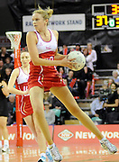 Rachel Shaw looks to pass, during New World Netball Series, New Zealand Silver Ferns v England at The ILT Velodrome, Invercargill, New Zealand. Thursday 6 October 2011 . Photo: Richard Hood photosport.co.nz