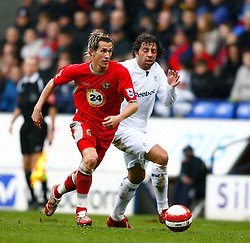 Bolton, England - Sunday, March 4, 2007: Bolton Wanderers' Ivan Campo in action against Blackburn Rovers' Morten Gamst Pedersen during the Premiership match at the Reebok Stadium. (Pic by David Rawcliffe/Propaganda)