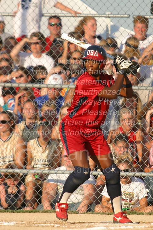30 June 2004  Team USA's Natasha Watley leads off.  Bloomington Lady Hearts vs. USA Olympic Softball Team.  Champion Field #1.  Normal Illinois