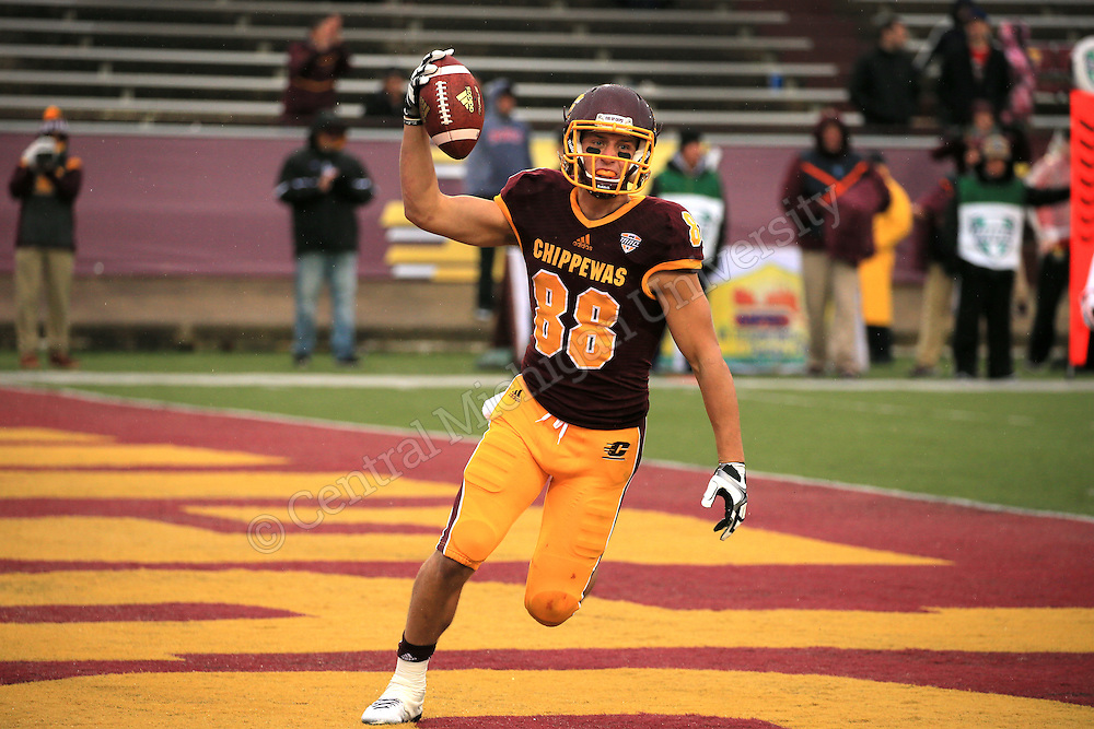 At Saturday afternoon's rainy homecoming game the CMU Football team defeated the Northern Illinois University Huskies 29 - 19 at Kelly/Shorts Stadium. The Chippewas are now 1-0 in the Mid American Conference and 2-3 overall. Photos by Steve Jessmore/Central Michigan University