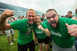 Fans of Olimpija celebrate after they became Slovenian National Champion 2018 after the football match between NK Domzale and NK Olimpija Ljubljana in 36th Round of Prva liga Telekom Slovenije 2017/18, on May 27, 2018 in Sports park Domzale, Domzale, Slovenia. Photo by Vid Ponikvar / Sportida