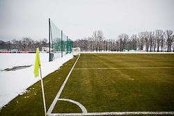 Training court under snow during Training of Slovenian National Football team before friendly matches with Austria and Belarus, on March 19, 2018 in Football National Centre, Brdo pri Kranju, Kranj, Slovenia. Photo by Ziga Zupan / Sportida