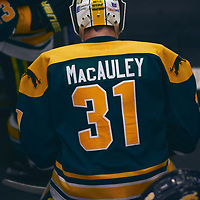 4th year Goalie, Dawson MacAuley (31) of the Regina Cougars during the Men's Hockey Home Game on Sat Jan 26 at Co-operators Center. Credit: Arthur Ward/Arthur Images