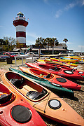 Kayaks lined up at the Harbour Town Lighthouse at Sea Pines Resort in Hilton Head Island, GA.