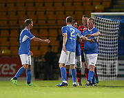 06/10/2017 - St Johnstone v Dundee - Dave Mackay testimonial at McDiarmid Park, Perth, Picture by David Young - St Johnstone's Roddy grant is congratulated after scoring